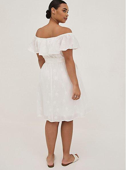 Off-The-Shoulder Tie-Waist Skater Dress - Challis White Embroidery, CLOUD DANCER, alternate