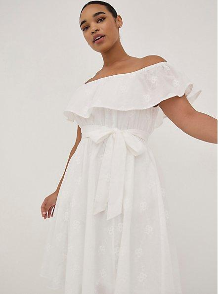Off-The-Shoulder Tie-Waist Skater Dress - Challis White Embroidery, CLOUD DANCER, hi-res