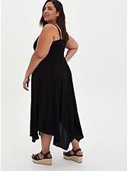 Handkerchief Midi Dress - Challis Black, DEEP BLACK, alternate