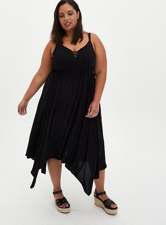 Handkerchief Midi Dress - Challis Black, DEEP BLACK, hi-res