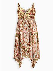 Handkerchief Midi Dress - Challis Yellow Floral, FLORAL - YELLOW, hi-res