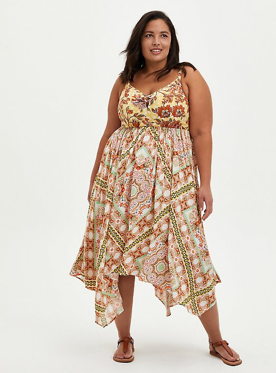 Plus Size Handkerchief Midi Dress - Challis Yellow Floral, FLORAL - YELLOW, hi-res
