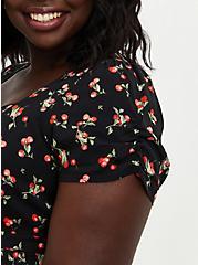 Skater Midi Dress - Challis Black Cherry, CHERRIES BLACK, alternate