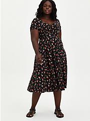 Skater Midi Dress - Challis Black Cherry, CHERRIES BLACK, hi-res