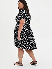 Shirt Dress - Challis Black Pineapple , PINAPPLE, alternate