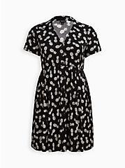 Shirt Dress - Challis Black Pineapple , PINAPPLE, hi-res