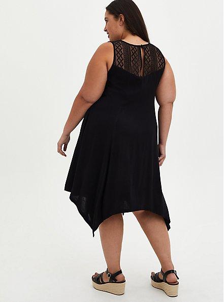 Lace Yoke Trapeze Dress - Stretch Rayon Black Lace, DEEP BLACK, alternate
