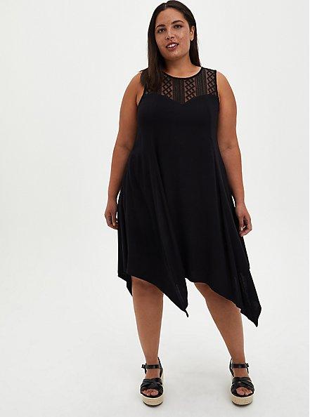 Lace Yoke Trapeze Dress - Stretch Rayon Black Lace, DEEP BLACK, hi-res