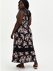 Skater Maxi Dress - Gauze & Lace Black Floral, FLORAL - BLACK, alternate