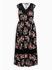 Skater Maxi Dress - Gauze & Lace Black Floral, FLORAL - BLACK, hi-res