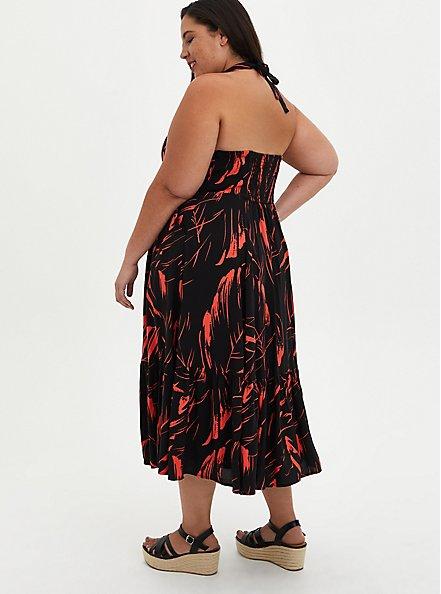 Halter Skater Mini Dress - Challis Black Leaf, LEAVES - BLACK, alternate