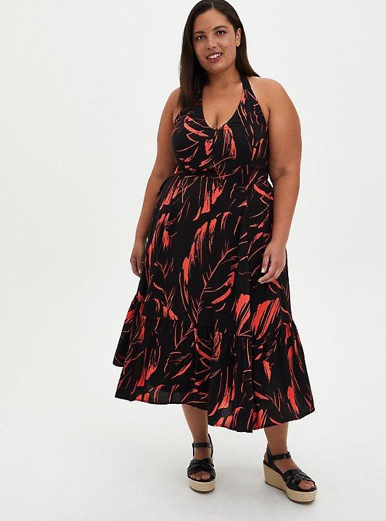 Halter Skater Mini Dress - Challis Black Leaf, , hi-res