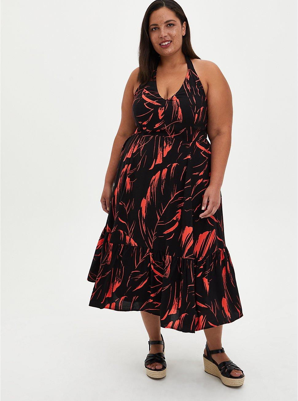 Halter Skater Mini Dress - Challis Black Leaf, LEAVES - BLACK, hi-res