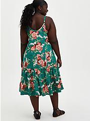 Trapeze Midi Dress - Challis Green Floral, FLORALS-GREEN, alternate