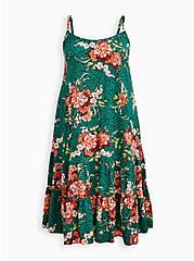 Trapeze Midi Dress - Challis Green Floral, FLORALS-GREEN, hi-res