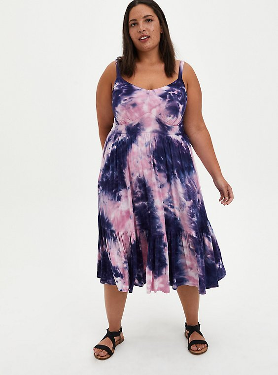 Plus Size Tiered Skater Midi Dress - Super Soft Purple Tie-Dye, TIE DYE, hi-res