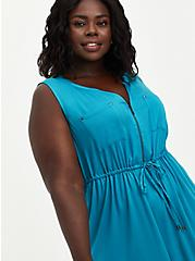 Zip-Front Shirt Dress - Challis Teal, TEAL, alternate