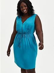 Zip-Front Shirt Dress - Challis Teal, TEAL, hi-res