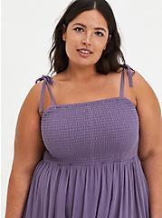 Smocked Tiered Skater Dress - Gauze Purple, PURPLE, alternate