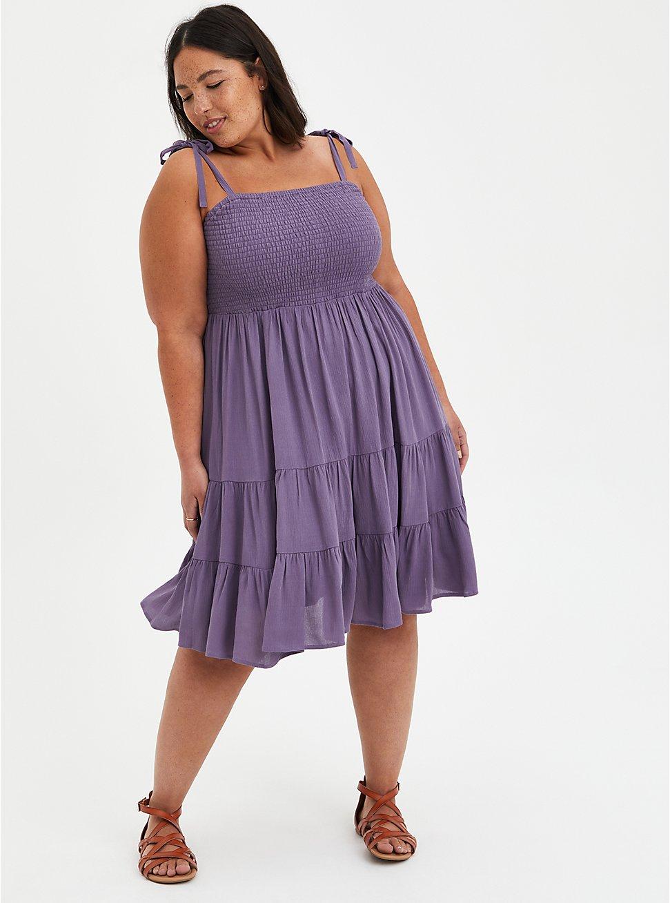 Smocked Tiered Skater Dress - Gauze Purple, PURPLE, hi-res