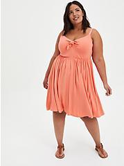 Tie-Front Skater Dress - Super Soft Coral, CORAL, alternate