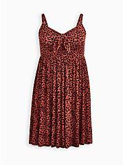 Plus Size Tie-Front Skater Dress - Super Soft Leopard, LEOPARD, hi-res