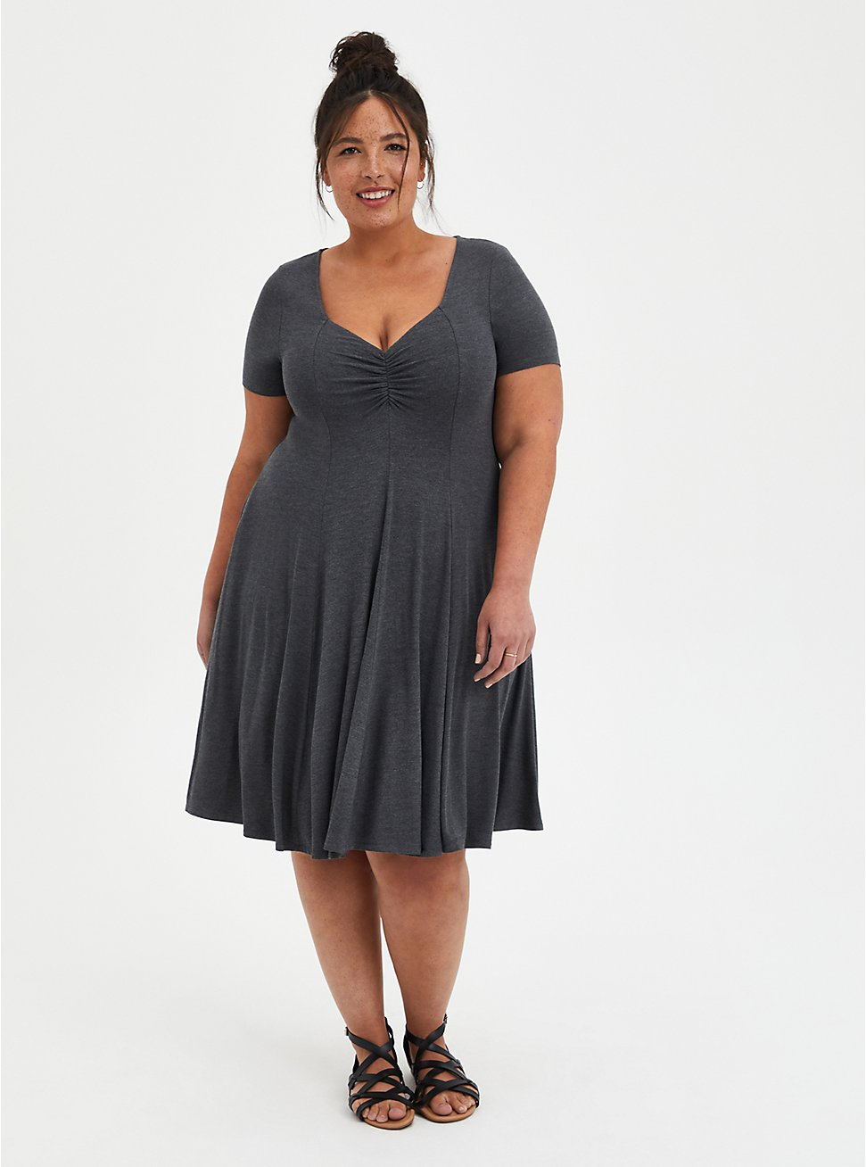 Sweetheart Fit & Flare - Super Soft Heather Grey, CHARCOAL, hi-res