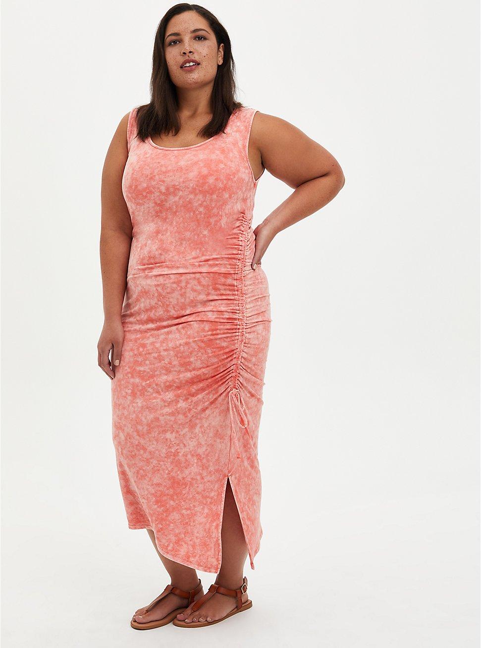 Bodycon Midi Dress - Super Soft Coral Wash, CORAL, hi-res