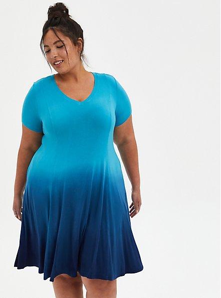 Trapeze Dress - Super Soft Teal Dip Dye, TEAL, alternate