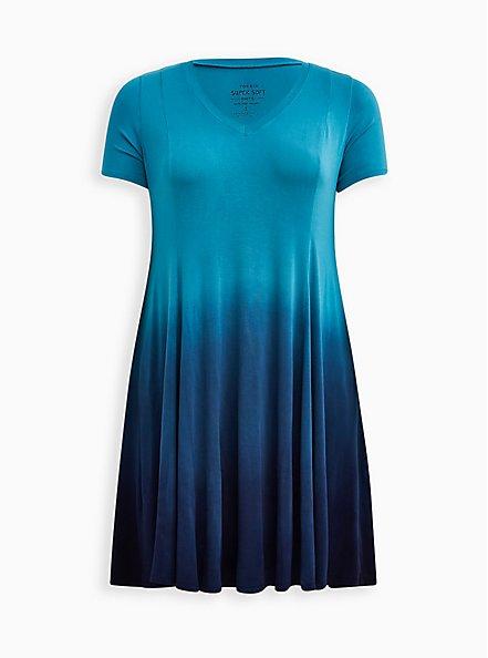 Trapeze Dress - Super Soft Teal Dip Dye, TEAL, hi-res