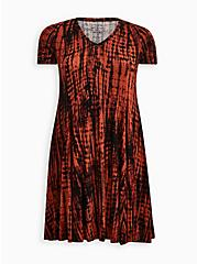 Trapeze Dress - Super Soft Rust Tie-Dye, TIE DYE STRIPE, hi-res