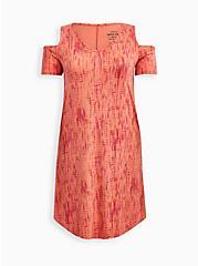 Orange Tie-Dye Super Soft Cold Shoulder T-Shirt Dress, TIE DYE STRIPE, hi-res