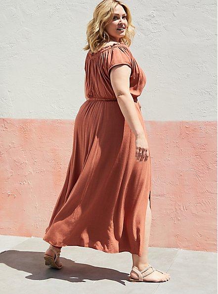 Tie Front Slit Maxi Dress - Crosshatch Woven Orange Rust, ORANGE RUST, alternate