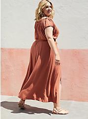 Plus Size Tie Front Slit Maxi Dress - Crosshatch Woven Orange Rust, ORANGE RUST, alternate