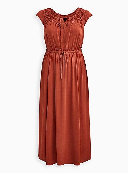 Tie Front Slit Maxi Dress - Crosshatch Woven Orange Rust, ORANGE RUST, hi-res