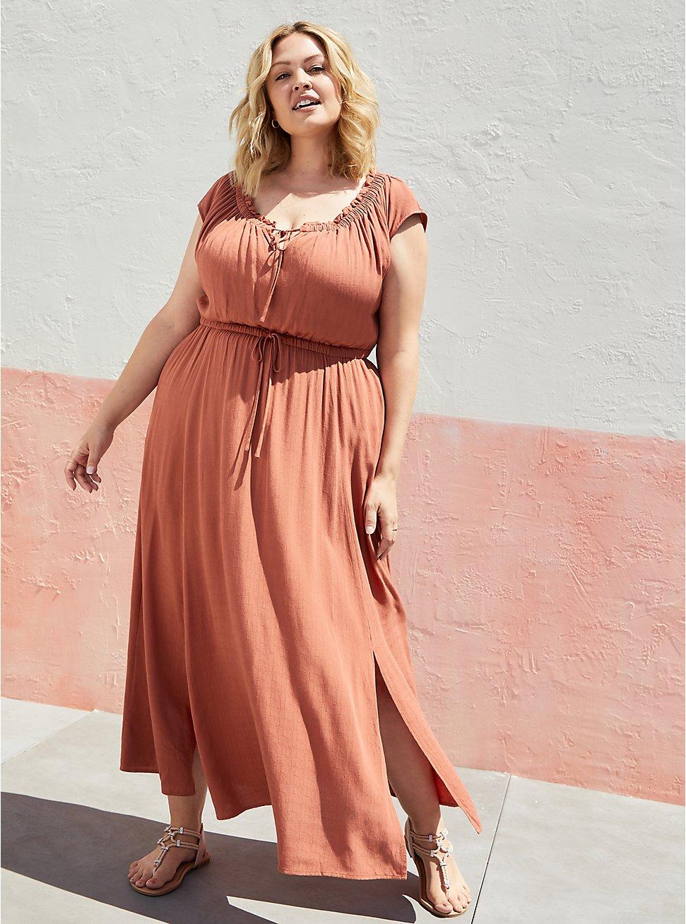 Plus Size Tie Front Slit Maxi Dress - Crosshatch Woven Orange Rust, ORANGE RUST, hi-res