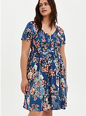 Smocked Bodice Skater Dress - Stretch Challis Floral Blue , FLORAL - BLUE, alternate