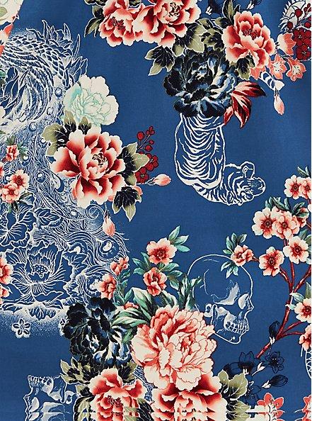 Plus Size Smocked Bodice Skater Dress - Stretch Challis Floral Blue , FLORAL - BLUE, alternate