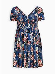 Smocked Bodice Skater Dress - Stretch Challis Floral Blue , FLORAL - BLUE, hi-res