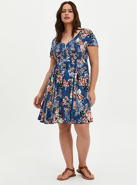 Plus Size Smocked Bodice Skater Dress - Stretch Challis Floral Blue , FLORAL - BLUE, hi-res