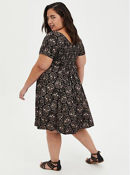 Plus Size Smocked Bodice Skater Dress - Stretch Challis Skull Black , SKULL - BLACK, alternate