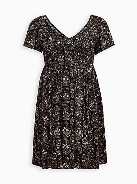 Plus Size Smocked Bodice Skater Dress - Stretch Challis Skull Black , SKULL - BLACK, hi-res