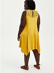 Lace Yoke Trapeze Dress - Stretch Rayon Yellow , YELLOW, alternate