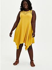 Lace Yoke Trapeze Dress - Stretch Rayon Yellow , YELLOW, hi-res