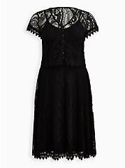 Black Mesh & Lace Button-Front Midi Set, DEEP BLACK, hi-res