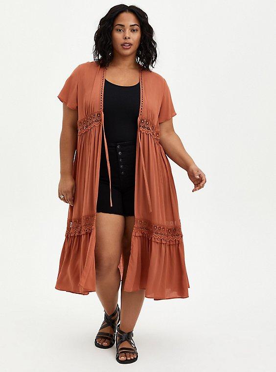 Auburn Gauze Crochet Duster Kimono, , hi-res