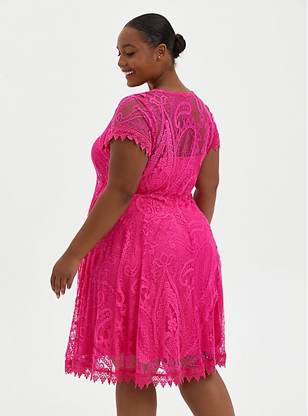 Plus Size Pink Lace Button Front Skater Dress, PINK, alternate