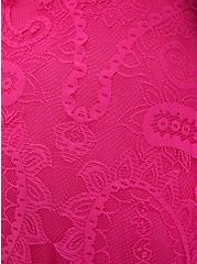 Pink Lace Button Front Skater Dress, PINK, alternate