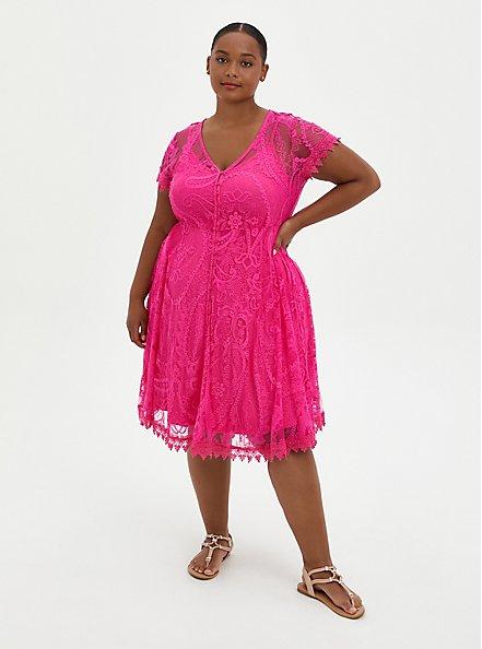 Plus Size Pink Lace Button Front Skater Dress, PINK, hi-res