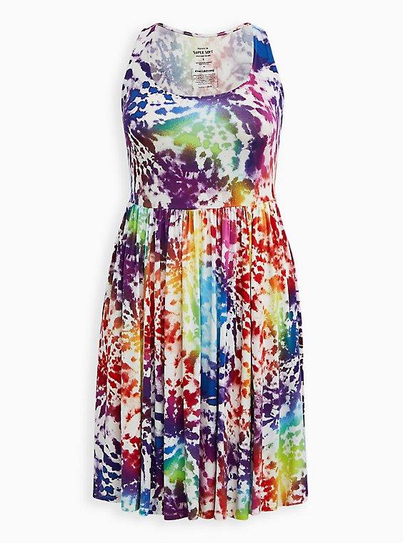 Celebrate Love Scoop Neck Skater Dress - Super Soft Rainbow Tie-Dye, , hi-res